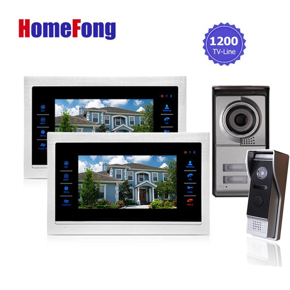 Homefong 2 Apartment/Family Video Door Phone Intercom System Doorbell Camera with 2 button 2 Monitor Waterproof my apartment