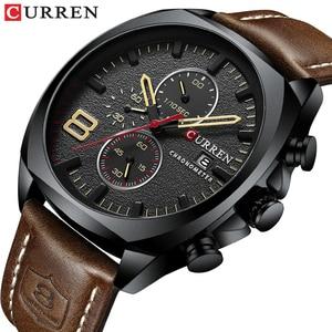 Image 3 - CURREN Chronograph Fashion Mens Watches Luxury Leather Business Quartz Watch Men Military Sport Wrist Watch Relogio Masculino