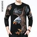 2016 Otoño invierno suéter de los hombres suéter de punto marca eagle de Impresión elegante jumpers suéteres para hombre homme tirón marca
