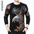 2016 Outono inverno homens pullover camisola de malha marca águia Impressão stylish jumpers camisolas dos homens puxar homme marque