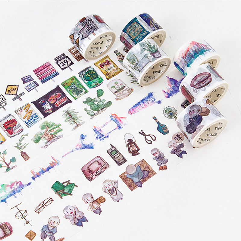 3-4cm*7m Watercolor city washi tape DIY decorative scrapbooking planner masking tape adhesive tape label sticker stationery ezone 1pc kawaii watercolor sakura petal washi tape diy decorative scrapbooking sticker planner masking adhesive tape stationery