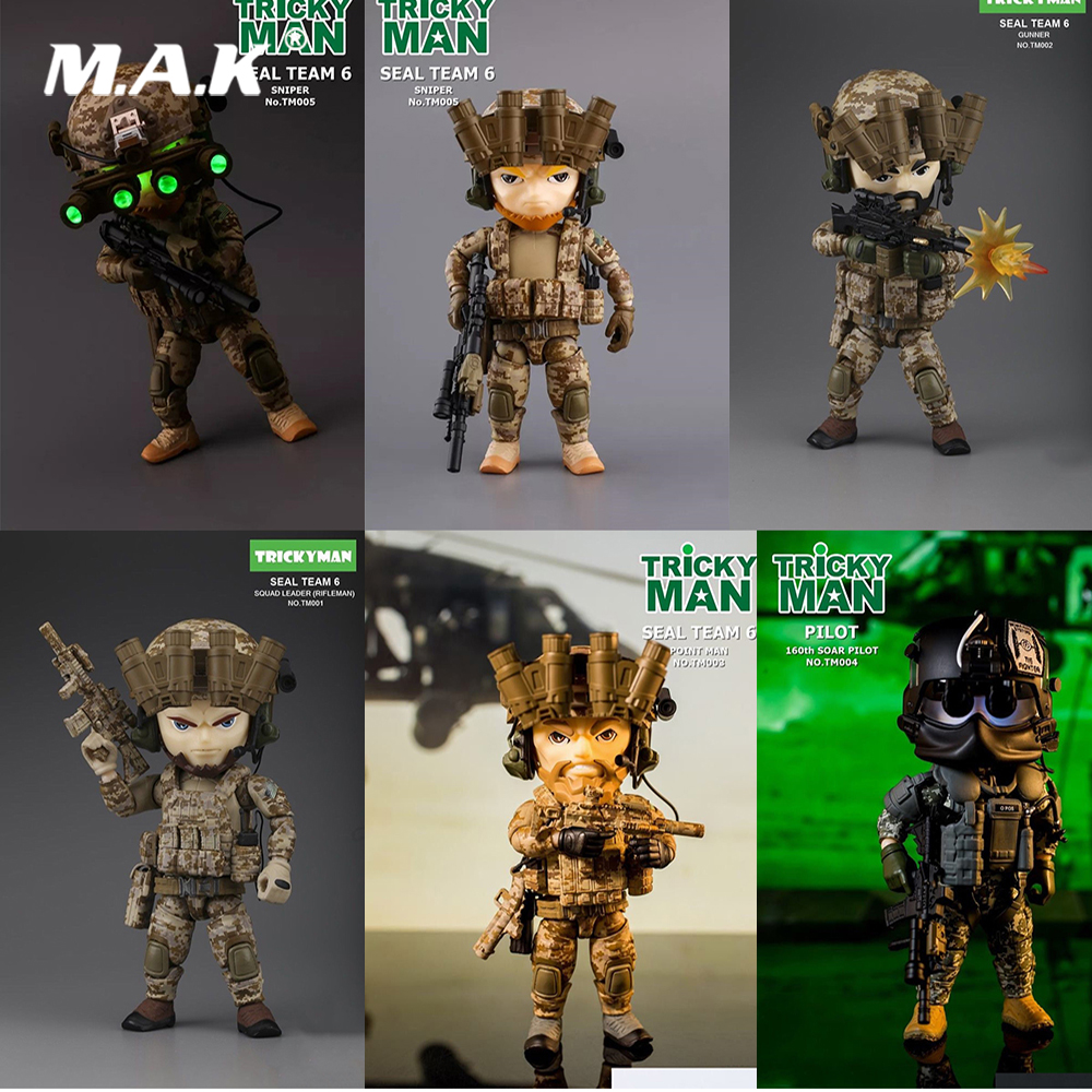 13cm Collectible Full Set Trickyman Seal Team 6 Series Pointman/Gunner/Rifleman/ Sniper/160th SOAR Night Model Toys for Gifts13cm Collectible Full Set Trickyman Seal Team 6 Series Pointman/Gunner/Rifleman/ Sniper/160th SOAR Night Model Toys for Gifts