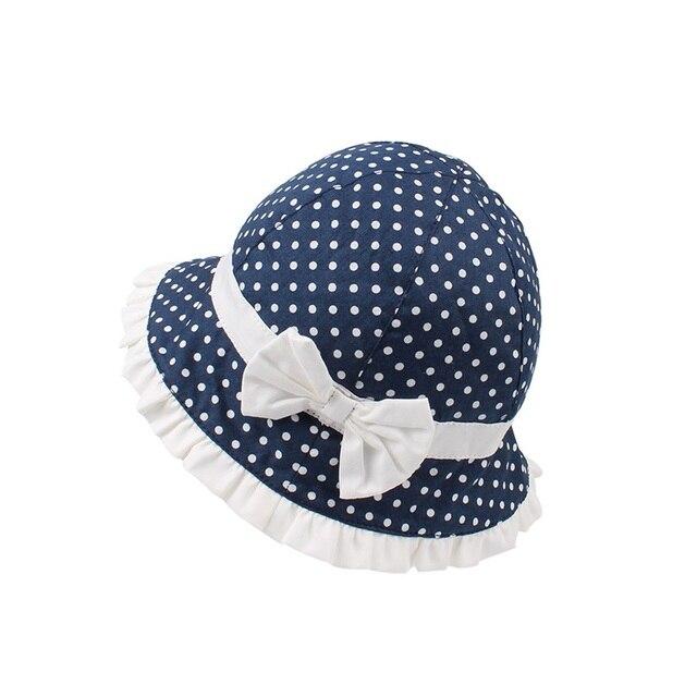 Bow DOTS bebé Niñas Polka sombrero Panamá verano Sol algodón ...