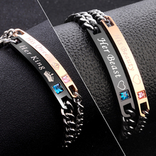 2 Style His Queen/Beauty Her King/Beast Black Rose Gold Color Couple Bracelet