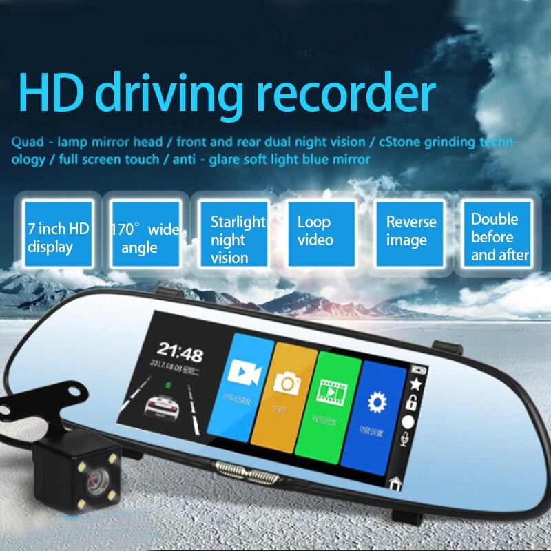 7.0 pouces écran tactile voiture DVR caméra avec rétroviseur DVR double lentille enregistreur Vision nocturne Dash Cam FHD 1080P registrateur