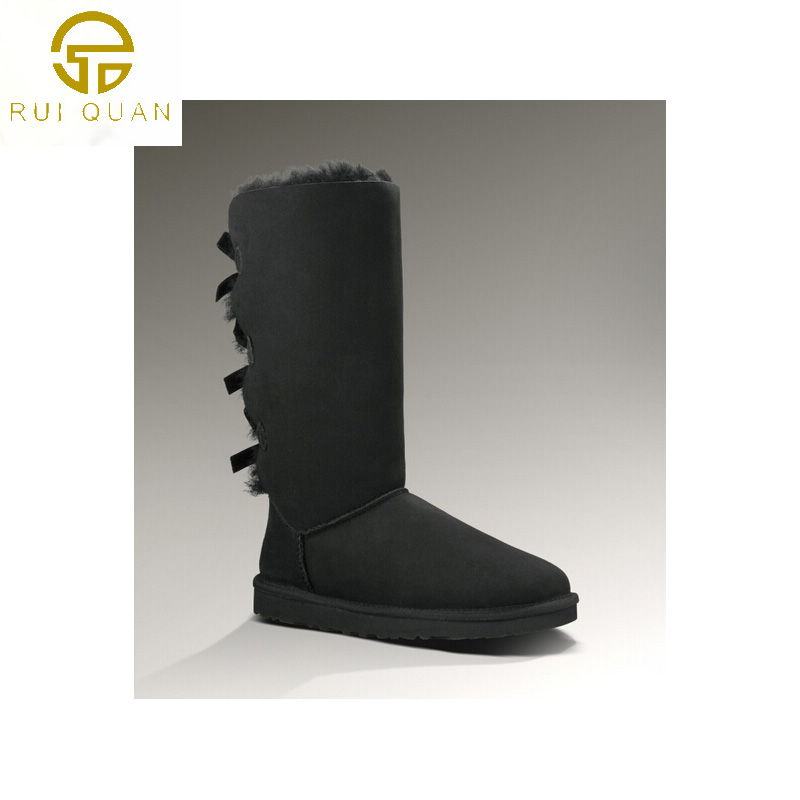 tall knee high 3 bows winter snow boots women s Real cow leather back bow  Chestnut female shoes lace up hot fashion blue gray -in Knee-High Boots  from Shoes ... 74470dfb7a3d