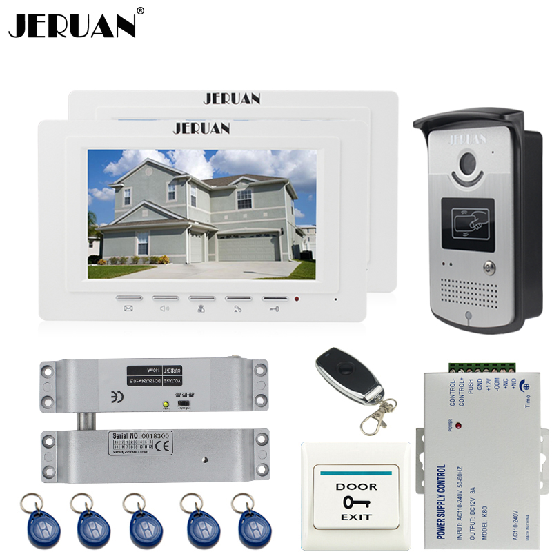 JERUAN two new 7`` LCD  Video Door Phone System 700TVT Camera access Control System+Electric Bolt lock+Remote control Unlock jeruan black 8 lcd video door phone system 700tvt camera access control system cathode lock remote control 8gb card