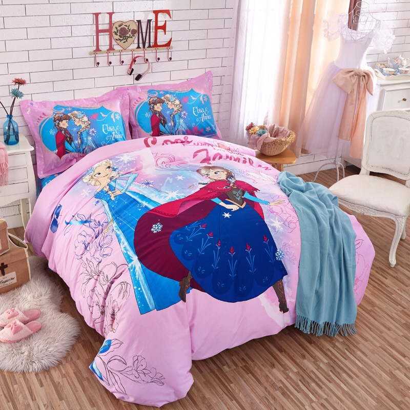 Disney Frozen Authentic Cartoon Bedding Set 4/5pcs 100% Cotton Elsa & Anna Duvet Cover Sheet Set Single Queen Size Kids Beddings Grade Products According To Quality Bedding Sets