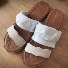 2019 Fashion Women Sandals Flat with Bead Pale Ivory Color Summer Slides Beach Slippers
