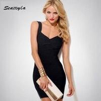 Seamyla sexy backless bandage dress rood wit blauw paars geel zwart v-hals vestidos mouwloze vrouwen celebrity party jurken