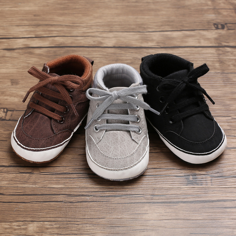 786b7a836ca1f Baby Shoes Newborn Boys First Walkers Kids Toddlers PU Sneakers 0 18 ...