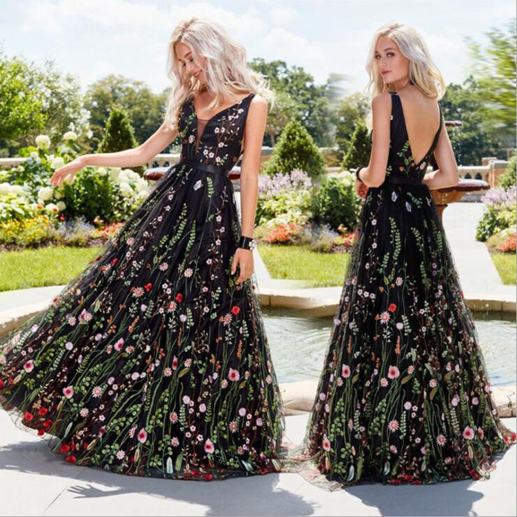 Ameision sexy sleeveless Woman Formal Dress Black Tulle With Flower Embroidery Evening Dresses Backless See through Party Dress in Evening Dresses from Weddings Events