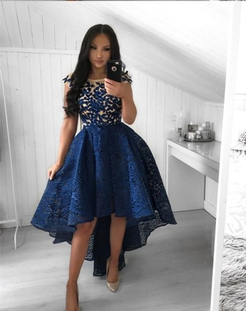 Sexy High low Lace Navy Homecoming Dresses 2018 Short Sleeves Formal Party Dresses Lace Embroidery vestido graduacion