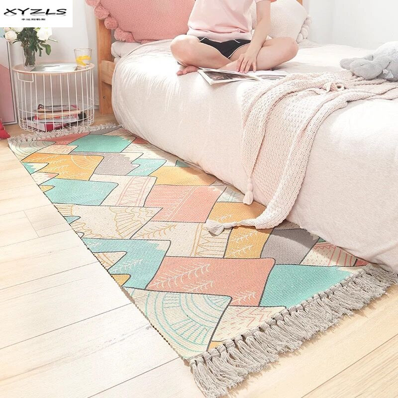 Ins Japanese Style Hand-woven Floor Mats Long-staple Cotton Bedroom Bedside Carpet with Strips Tassels Home Decor RugIns Japanese Style Hand-woven Floor Mats Long-staple Cotton Bedroom Bedside Carpet with Strips Tassels Home Decor Rug