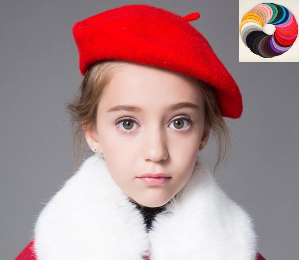 Wholesale 6pcs Quality Kids Plain Wool Berets Cap Boys Spring Blank Felt  Berets Hat Girls Fall Wool Caps Children Trilby Hats 39c27e7b2af