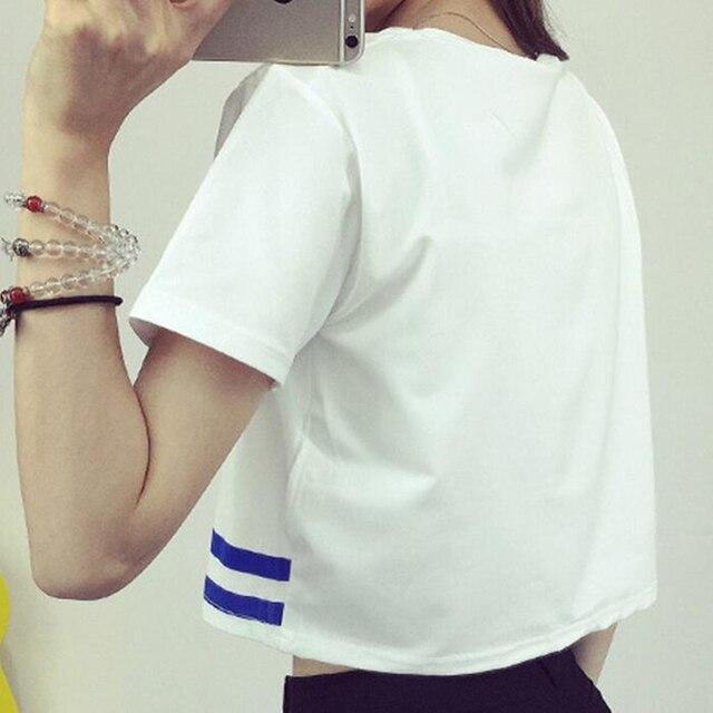 Japanese Letter Printed Fashion Crop Top Short-sleeved T shirt Women Chic Sexy Ladies T shirts 2018 Summer Harajuku Girls Tee 4