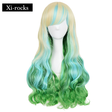3032 Xi.rocks Wigs 26inch Fiber Synthetic Long Wavy Harajuku Lolita Style Ombre With Bangs For Women Cosplay Wig black and white ombre long wavy side bang synthetic fashion lolita harajuku cosplay wig for party