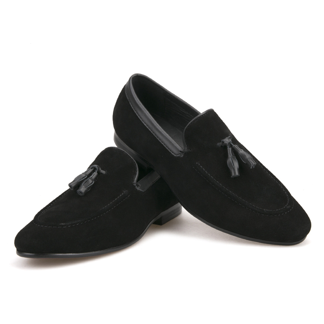 Black and Brown men suede shoes with leather tassel men handmade casual loafers 4