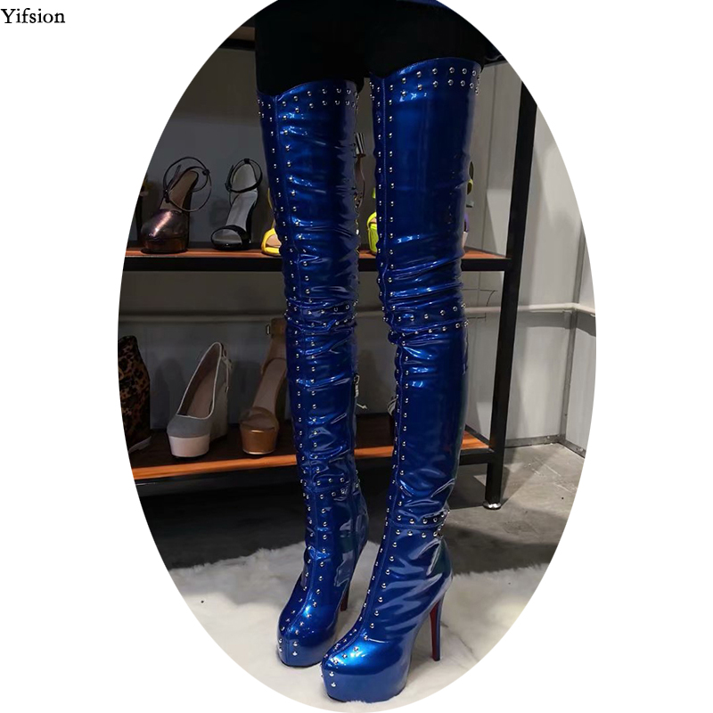 Olomm New Arrival Women Platform Thigh High Boots Stiletto High Heels Boots Round Toe Blue Party