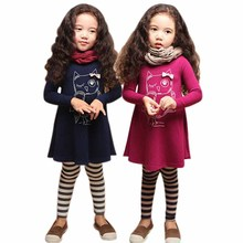 2016 fall winter 2pcs 1pc Shirts+1pc strip Pants Children's Clothing Set Girls Clothes Suits plum navy owl cotton girl clothes