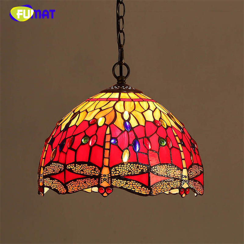 FUMAT Stained Glass Pendant Lamp Art Red Dragonfly Glass Shade Restaurant Kitchen Lamp LED Dining Room Glass Pendant Lights fumat stained glass pendant lights garden art lamp dinner room restaurant suspension lamp orchids rose grape glass lamp lighting