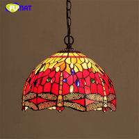 FUMAT Stained Glass Pendant Lamp Art Red Dragonfly Glass Shade Restaurant Kitchen Lamp LED Dining Room Glass Pendant Lights