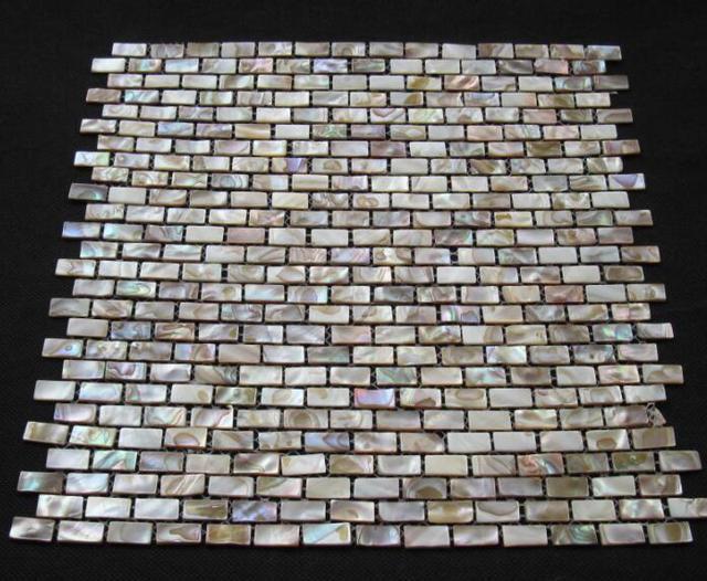 Rettangolo di mattoni marrone madreperla shell piastrelle a parete
