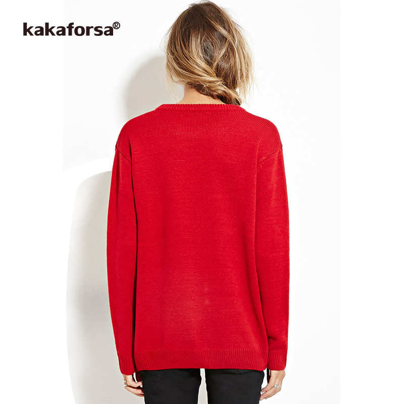 Kakaforsa Women Knitted Print Sweaters Long Sleeve O neck Loose ...