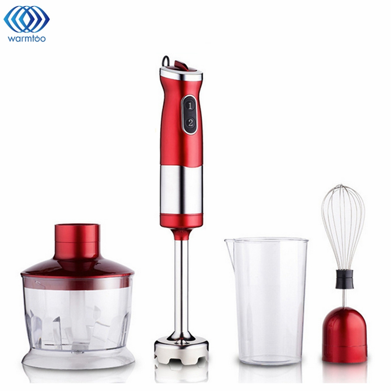 4 in 1 Electric Food Hand Blender Mixer Whisk Chopper Jug Cup Processor Red 304 Stainless Steel + Plastic 220V 700W