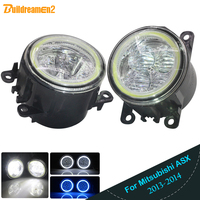 Buildreamen2 2 Pieces Car 4000LM LED Lamp H11 Fog Light Angel Eye Daytime Running Light DRL 12V For Mitsubishi ASX 2013 2014