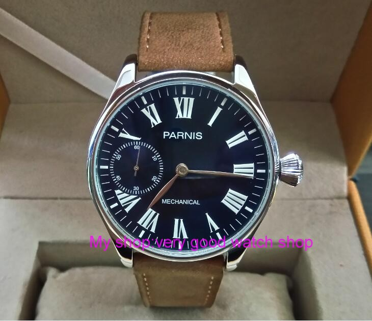 44mm PARNIS Blue dial Asian 6498 17 jewels Mechanical Hand Wind movement men's watch Mechanical watches Leather Starps zdgd24A limited edition watch 50mm big dial parnis men s watch asian 6498 mechanical hand wind pvd black watchcase 84aa