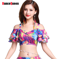 Sexy Belly Dance Tops For Ladies Flower Printing 3 Size Braces Frocks Fantasia Comfort Women Belly