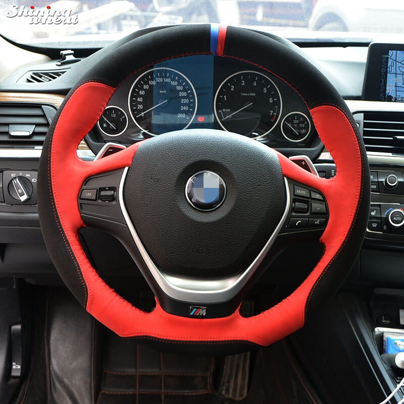Shining wheat Black Red Suede Hand-stitched Car Steering Wheel Cover for BMW320i 328i 320d F20 F30