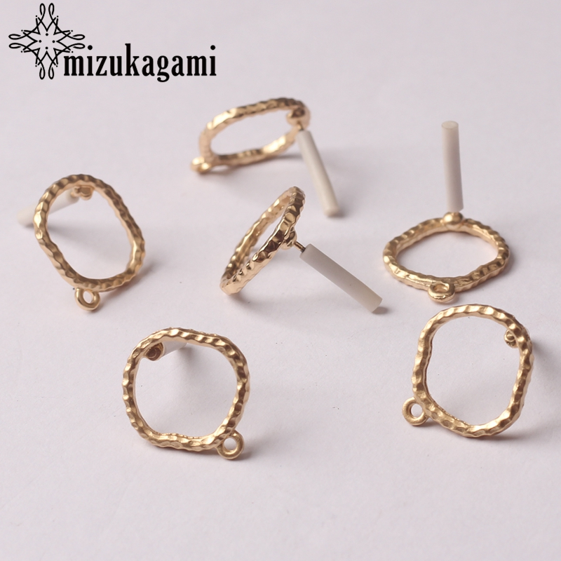 Zinc Alloy Golden Hollow Round Circle Base Earrings Connector Charms 12mm 6pcs/lot For DIY Drop Earrings Jewelry Accessories