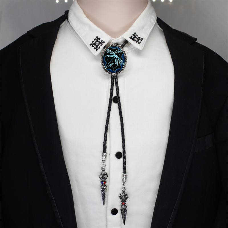 a3a6811b7087 Fashion Blue Crystal Winged Dragonflies Photos Hand Craft Jewelry Shirt Ties  Western Bolo Tie