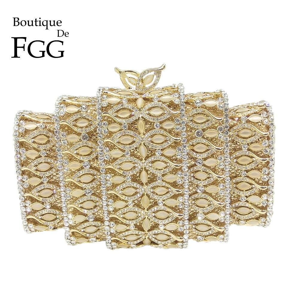 Boutique De FGG Dazzling Cristal Ouro Embreagem Sacos de Noite Das Mulheres Escavar Pedras Frisada Casamento Nupcial Diamante Bolsa Minaudiere