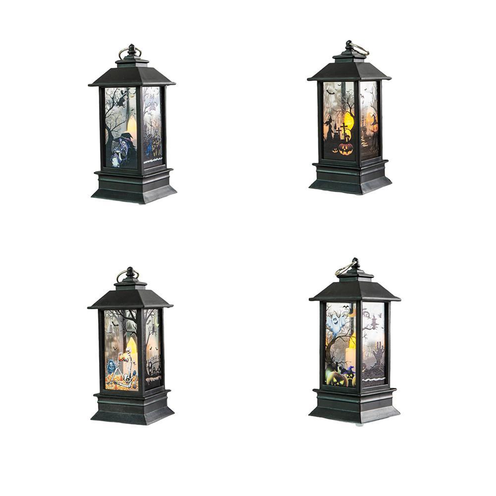 Halloween Decorative Lights Retro Oil Lamp Pumpkin Castle Theme Party Lantern Night Light