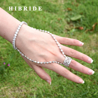 HIBRIDE Exclusive AAA Cubic Zirconia Wedding Bracelets and Ring Jewelry Set Bridal Dubai Jewelry Sets for Woman N 290