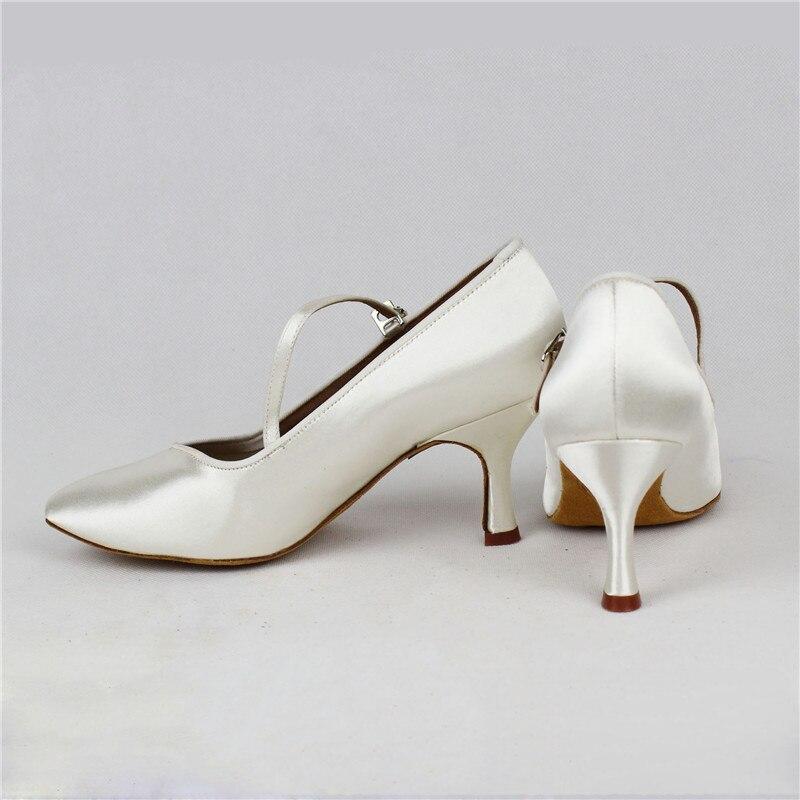 Femmes de Danse Standard BD138 Classique Blanc Satin Dames Salle De Bal chaussures de danse Doux Anti Glissé En Cuir Semelle Haute Talon Profession - 4