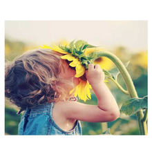 WONZOM Sunflower Girl Painting By Numbers Frameworks Coloring Pictures Home Decor Canvas Decorations Modular