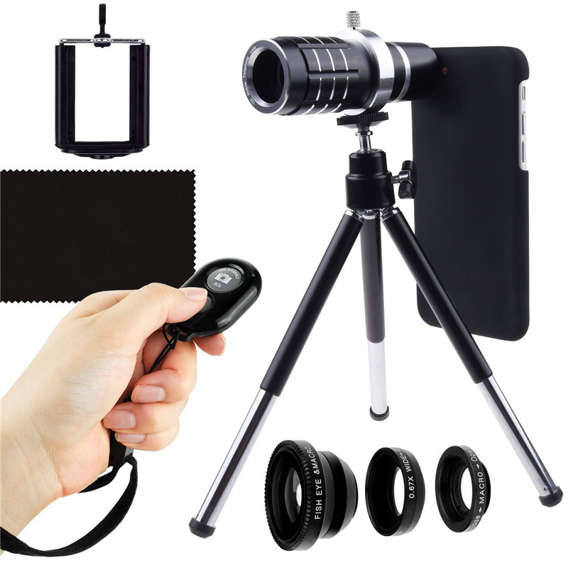 Self Kit:Bluetooth Camera Remote+12x Telescope+3 Awesom Lente Lens+Case Holder+Photo Tripod For Apple Iphone X 8 7/8 PLUS 7 plus brushed pc tpu hybrid card holder case for iphone 7 plus grey