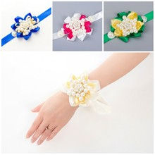 Luxury Brand Wedding Party Prom Mother Bridesmaid Bride Hand Wrist Flower Women Corsage Artificial Pearls Jewelry Bridal Flowers
