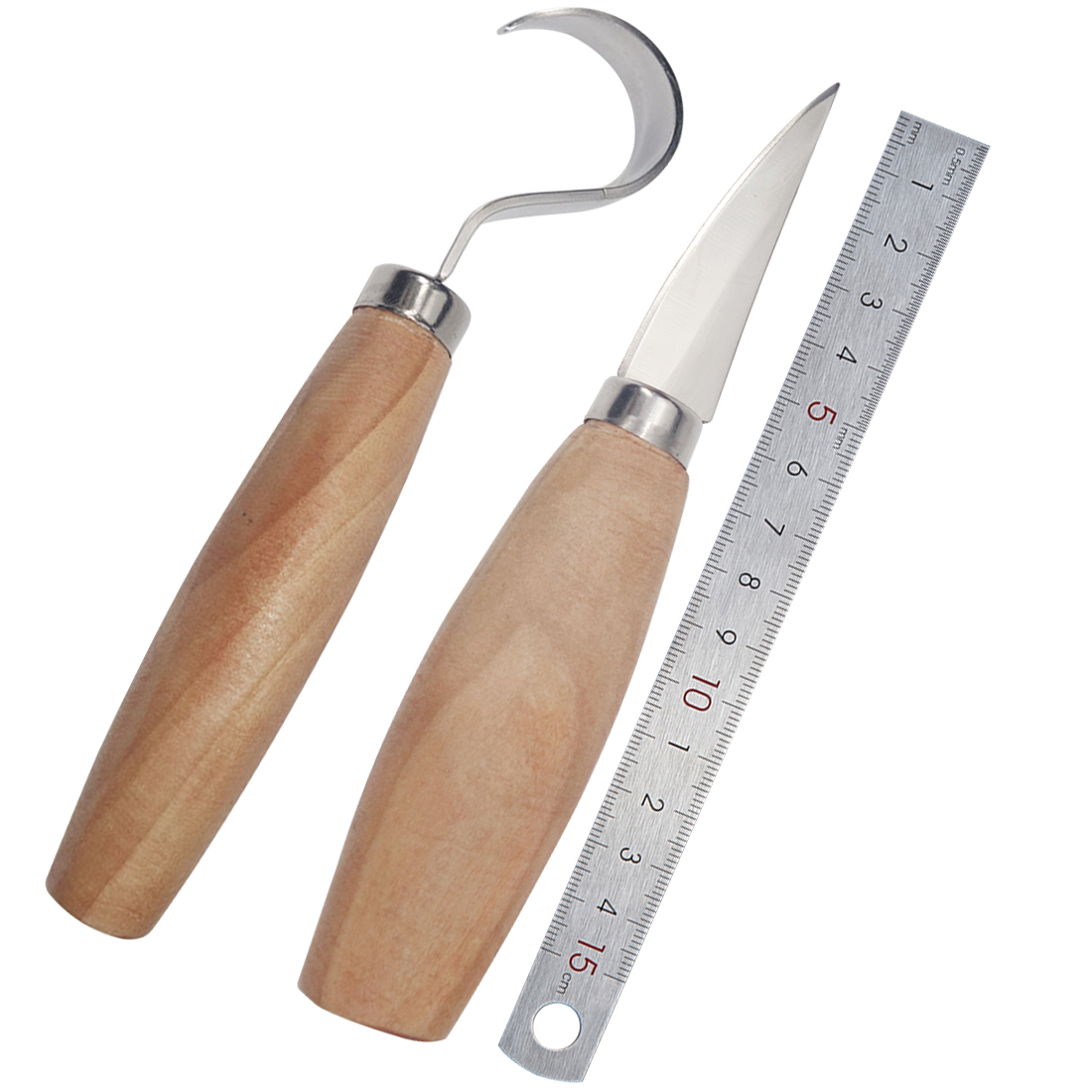 2pcs/set Stainless Steel Woodcarving Cutter Woodwork Sculptural DIY Wood Handle Spoon Carving Knife Woodcut Tools Kit2pcs/set Stainless Steel Woodcarving Cutter Woodwork Sculptural DIY Wood Handle Spoon Carving Knife Woodcut Tools Kit