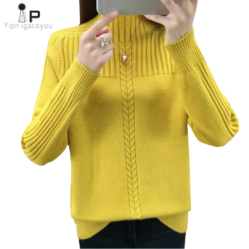 Women Sweater Knitting Pullovers Autumn Korean Loose Half High Collar Warm Black Sweater Ladies Jumper Knit Sweaters Winter Tops