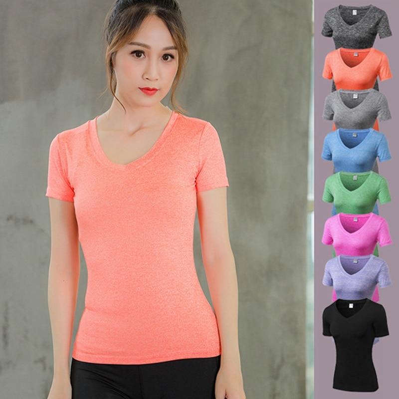 Vertvie Womens V Collar Short Sleeve Top Tee Shirt Gym Pro Fitness T-shirt Compression Running Shirt Quick Dry Jogger Sportwear