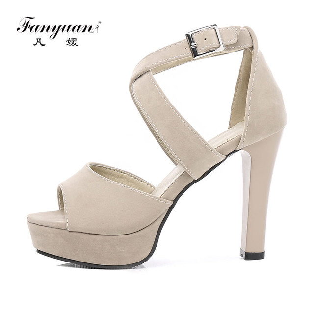 e27f787a62c Fanyuan Chunky High Heels Gladiator Sandals Women Shoes Cross-Strap Rome  Nude Platform Sandals Ladies Female sandalia peep toe