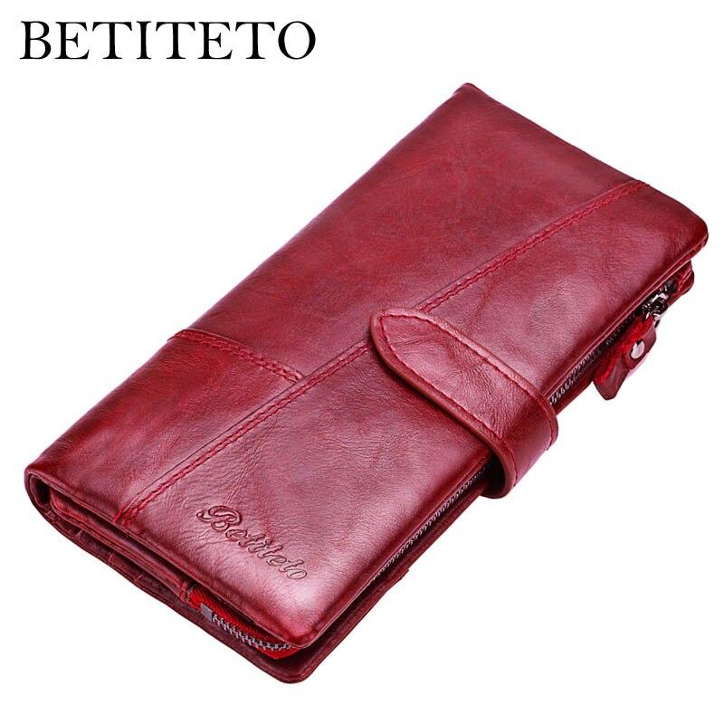 Betiteto מותג Rfid אמיתי עור מטבע ארנק נשים ארנק נשי Carteras שימושי מצמד Portomonee Partmone טלפון תיק Cuzdan