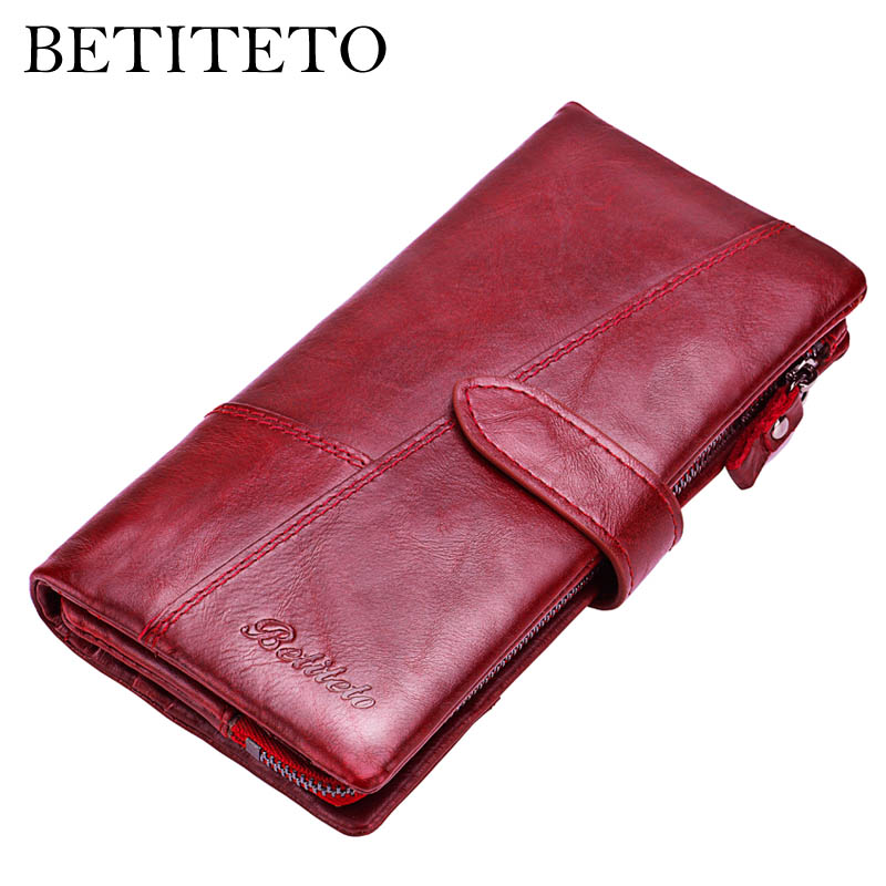 Betiteto Marke Rfid Echtem Leder Geldbörse Frauen Brieftasche Weibliche Carteras Handliche Kupplung Portomonee Partmone Telefon Tasche Cuzdan