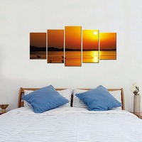 Modern Seascape Artwork High Definition Canvas Prints 5 Piece Abstract Sunrise Pictures Spray Printings Artwork Wall