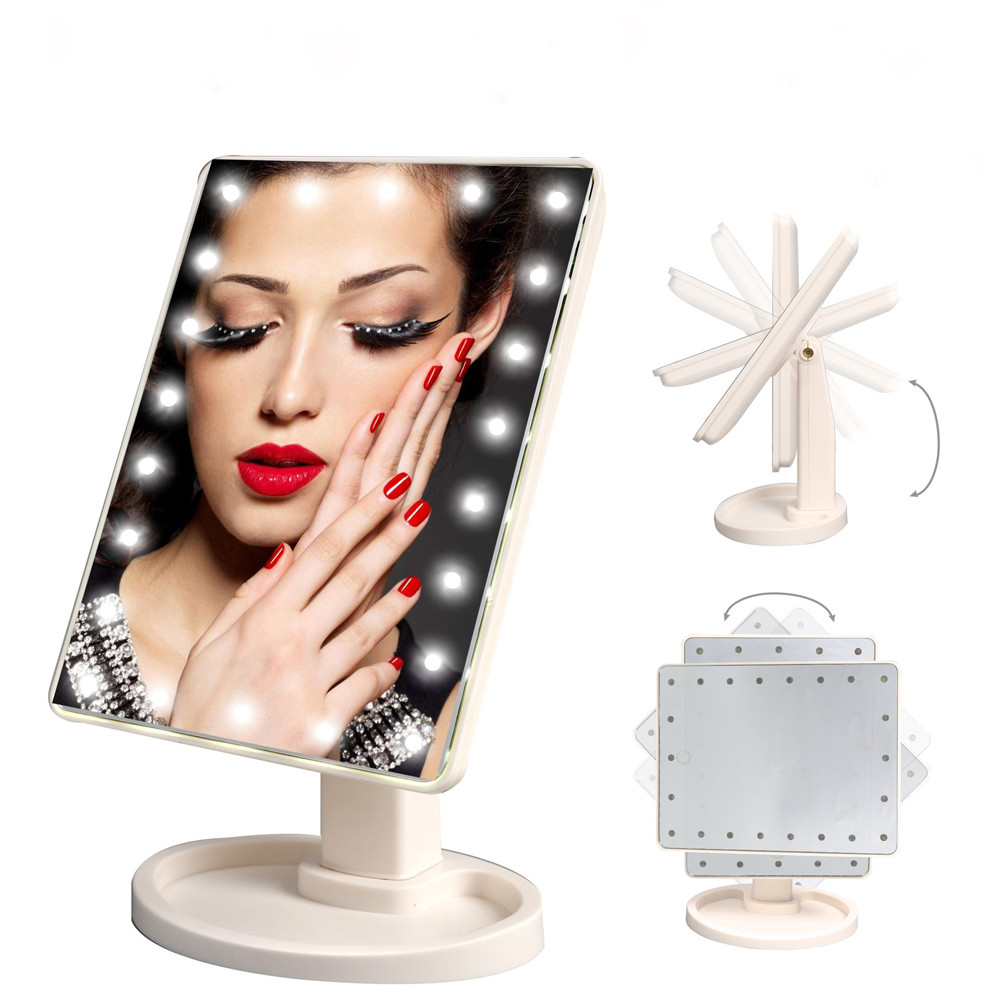 Novelty LED Touch Screen Makeup Mirror 16/22LED 360 Degrees Rotating Desktop Storage Cosmetic LED Vanity Mirror Light+AA Battery